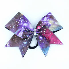 Galaxy Print Bow with Rhinestones - Bling Bow Love - 3