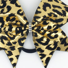 Gold Leopard Bow, Cheer Bow, Cheetah Bow - Bling Bow Love - 2