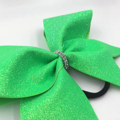 Neon Green Glitter Cheer Bow - Bling Bow Love - 3
