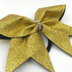 Gold Holographic Glitter Cheer Bow - Bling Bow Love - 3