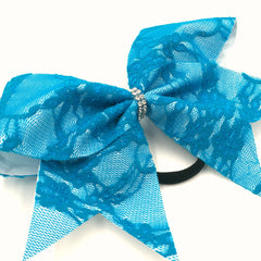 Blue Lace Bow - Bling Bow Love - 2