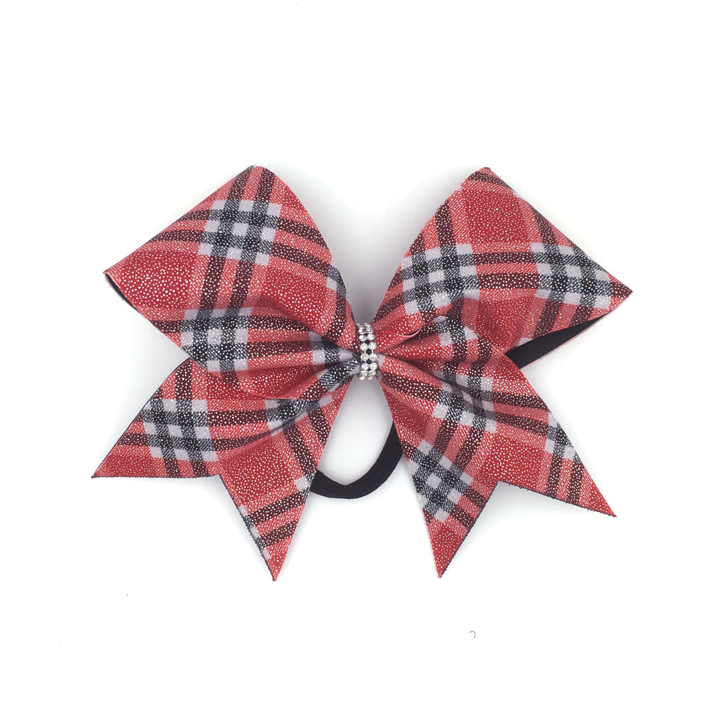 Scotty Bow, Red Plaid bow, Cheer Bow - Bling Bow Love - 1