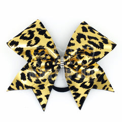 Gold Leopard Bow, Cheer Bow, Cheetah Bow - Bling Bow Love - 4
