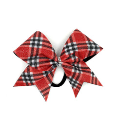 Scotty Bow, Red Plaid bow, Cheer Bow - Bling Bow Love - 4