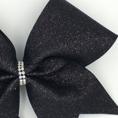Black Glitter Cheer Bow - Bling Bow Love - 4