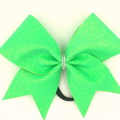 Neon Green Glitter Cheer Bow - Bling Bow Love - 2