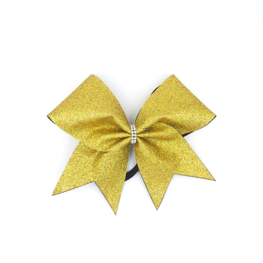 Gold Holographic Glitter Cheer Bow - Bling Bow Love - 1