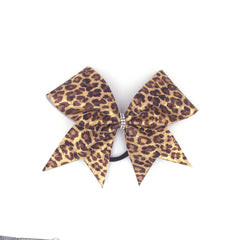 Gold & Brown Leopard Bow, Cheer Bow, Cheetah Bow - Bling Bow Love - 2