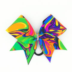 Neon Psychedelic Swirl Cheer Bow - Bling Bow Love - 4