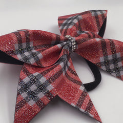 Scotty Bow, Red Plaid bow, Cheer Bow - Bling Bow Love - 7