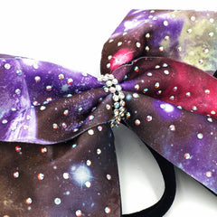 Galaxy Print Bow with Rhinestones - Bling Bow Love - 4