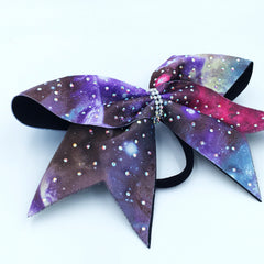 Galaxy Print Bow with Rhinestones - Bling Bow Love - 2