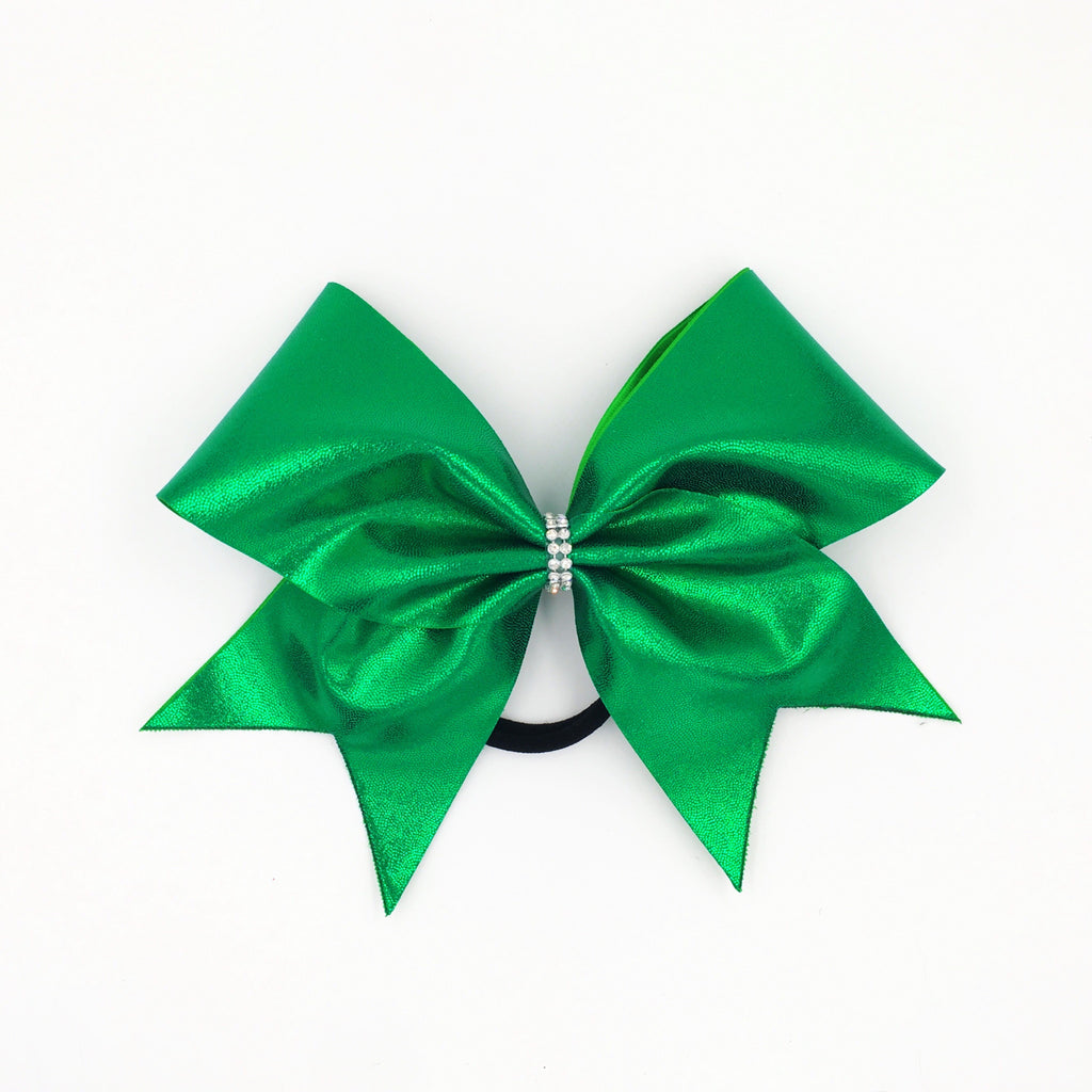 Green Metallic Cheer Bow - Bling Bow Love - 1