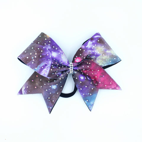 Galaxy Print Bow with Rhinestones - Bling Bow Love - 1