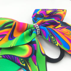 Neon Psychedelic Swirl Cheer Bow - Bling Bow Love - 2