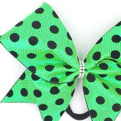 Green Polka Dot Cheer Bow // Lime Green Holographic // Black Velvet Dots - Bling Bow Love - 3