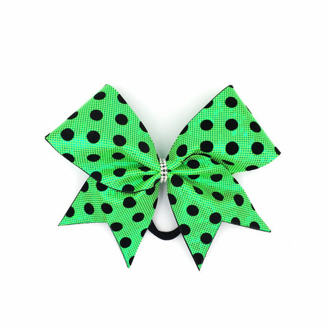 Green Polka Dot Cheer Bow // Lime Green Holographic // Black Velvet Dots - Bling Bow Love - 1
