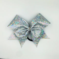 Shattered Glass Silver Cheer Bow // Holographic Cheer Bows - Bling Bow Love - 2