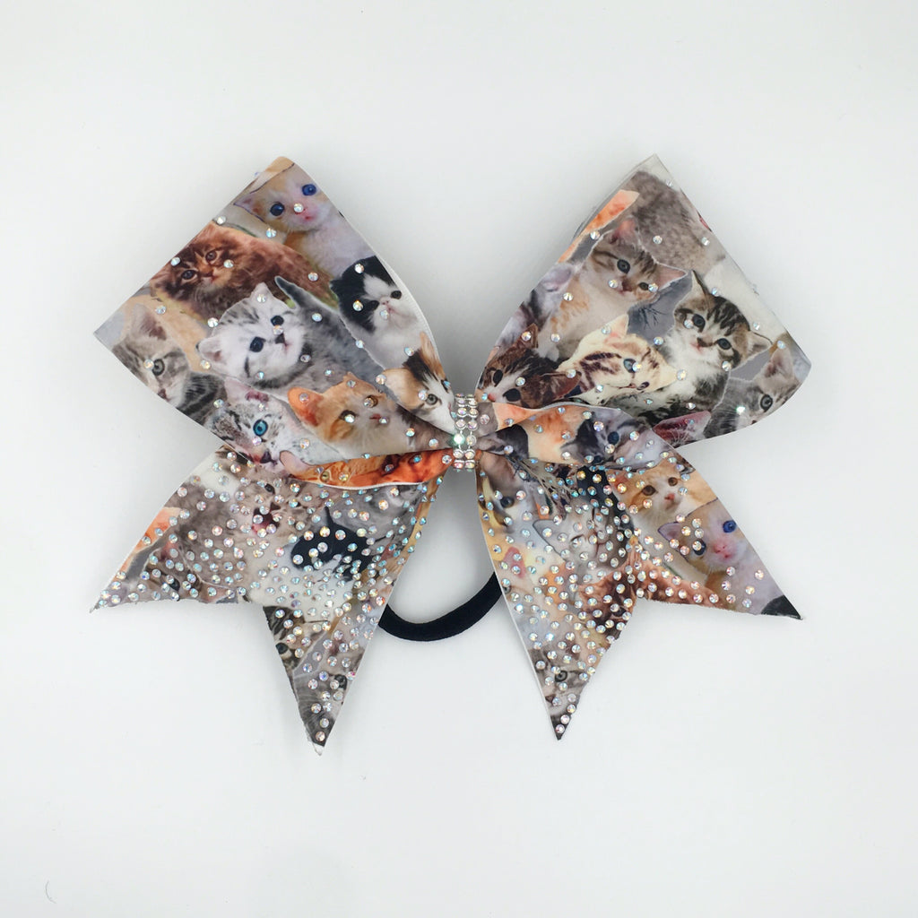 Kitty Sparkles Cheer Bow - Bling Bow Love - 1