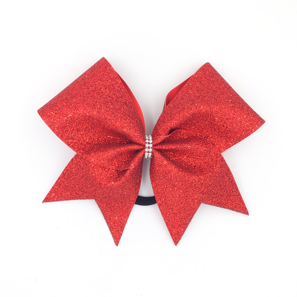 Red Glitter Cheer Bow - Bling Bow Love - 1