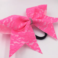 Pink Lace Cheer Bow - Bling Bow Love - 4
