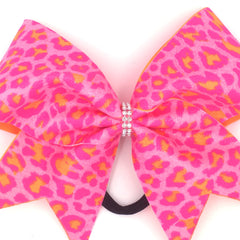 Pink Orange Leopard Bow, Cheer Bow, Pink Cheetah Bow - Bling Bow Love - 4