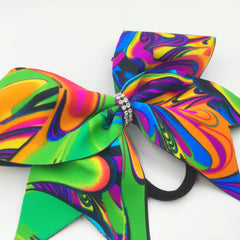 Neon Psychedelic Swirl Cheer Bow - Bling Bow Love - 3