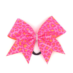 Pink Orange Leopard Bow, Cheer Bow, Pink Cheetah Bow - Bling Bow Love - 1