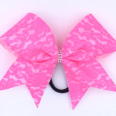 Pink Lace Cheer Bow - Bling Bow Love - 3