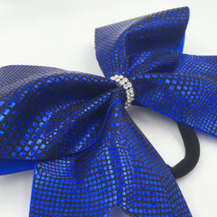 Blue Animal Print Cheer Bow - Bling Bow Love - 2