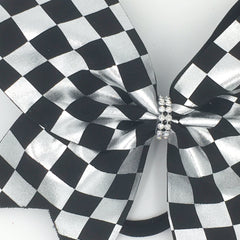 Black & Silver Checkered Bow - Bling Bow Love - 3