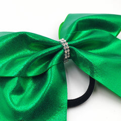 Green Metallic Cheer Bow - Bling Bow Love - 2