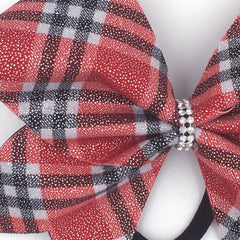 Scotty Bow, Red Plaid bow, Cheer Bow - Bling Bow Love - 3