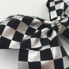 Black & Silver Checkered Bow - Bling Bow Love - 2