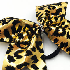 Gold Leopard Bow, Cheer Bow, Cheetah Bow - Bling Bow Love - 3