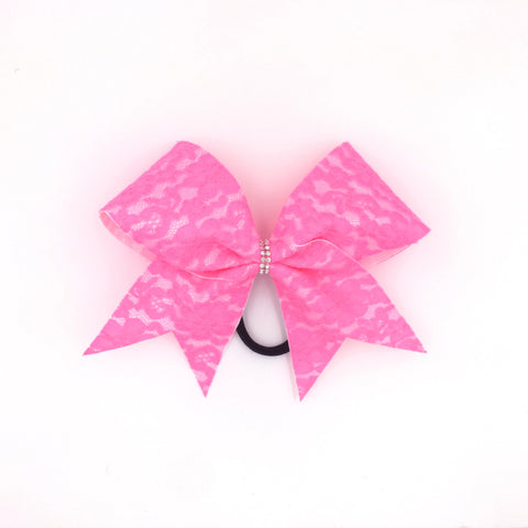 Pink Lace Cheer Bow - Bling Bow Love - 1
