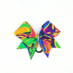 Neon Psychedelic Swirl Cheer Bow - Bling Bow Love - 1
