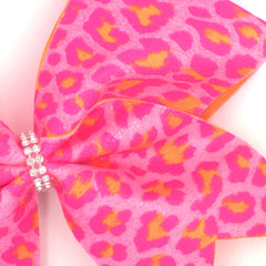 Pink Orange Leopard Bow, Cheer Bow, Pink Cheetah Bow - Bling Bow Love - 3
