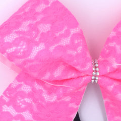 Pink Lace Cheer Bow - Bling Bow Love - 2