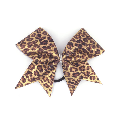 Gold & Brown Leopard Bow, Cheer Bow, Cheetah Bow - Bling Bow Love - 1