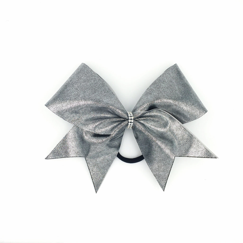 Dark Silver Metallic Cheer Bow - Bling Bow Love - 1