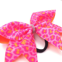 Pink Orange Leopard Bow, Cheer Bow, Pink Cheetah Bow - Bling Bow Love - 2