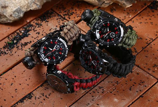 Paracord Survival Watch 6 in 1 firestarter, compass, whistle, thermometer etc