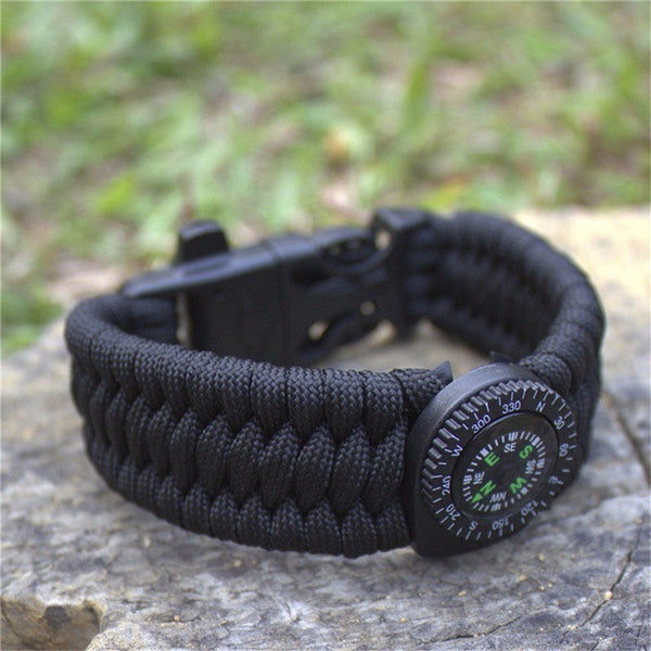Paracord Tactical Military Survival Bracelet with Compass, Flint, Whistle and blade-FREE Shipping USA