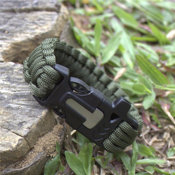 Paracord Compass Survival Bracelet: Military Survival with Flint, Whistle and blade-FREE Shipping USA