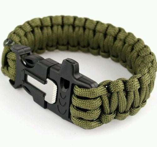 paracord survival bracelet 550 firestarter rod knife whistle