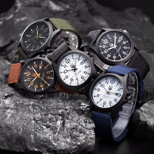 Military Style Analog Canvas Watch