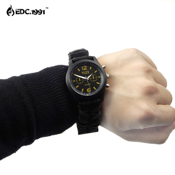 Outdoor Survival Paracord Watch with firestarter