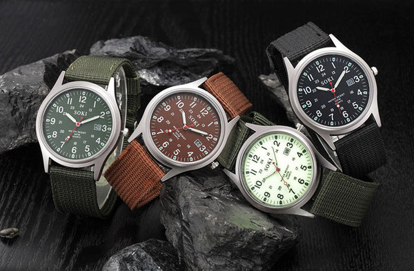 canvas military army watch green brown black white