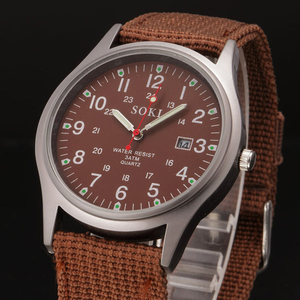 Military Canvas Band Watch Stainless Steel Date Quartz Survival